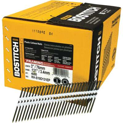 Bostitch 21 Degree Plastic Strip Coated Full Round Head Framing Stick Nails, 3 In. x .131 In. (4000 Ct.)