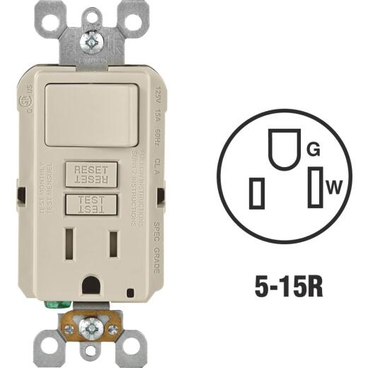Leviton Light Almond 15A Self-Test Tamper Resistant GFCI Switch & Outlet Combination With Wallplate