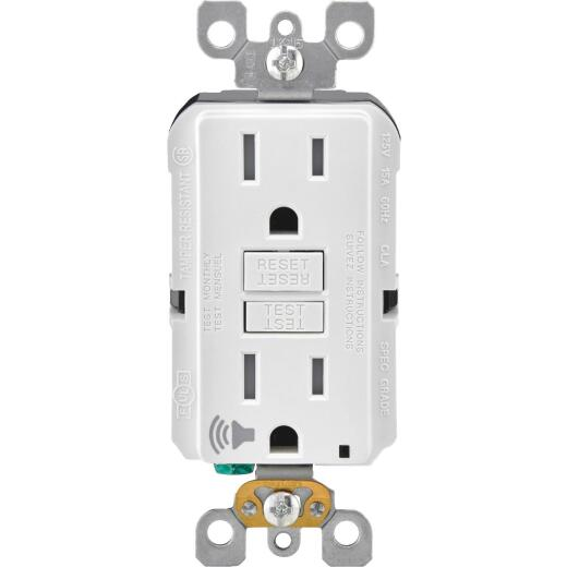 Leviton SmartLockPro Audible Trip Alert 15A White Residential Grade 5-15R Self-Test GFCI Outlet