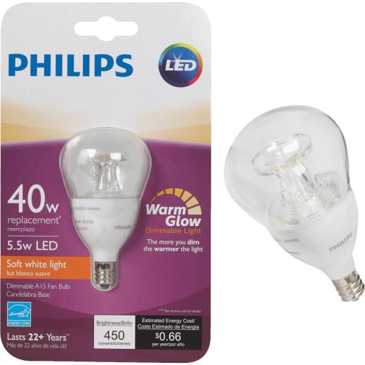 Philips Warm Glow 40W Equivalent Soft White A15 Candelabra Dimmable LED Light Bulb