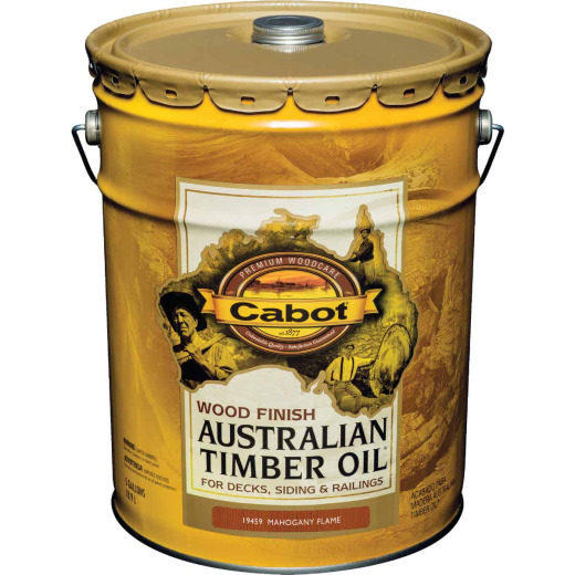 Cabot Australian Timber Oil Water Reducible Translucent Exterior Oil Finish, Mahogany Flame, 5 Gal.