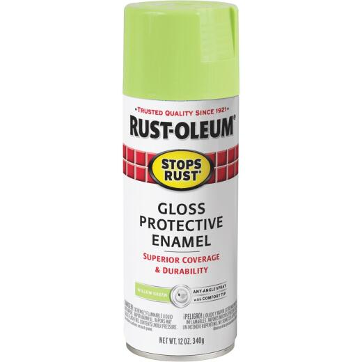 Rust-Oleum Stops Rust 12 Oz. Gloss Willow Green Spray Paint Protective Enamel